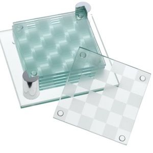 💥NEW💥2 CHECKERED GLASS COASTER SETS